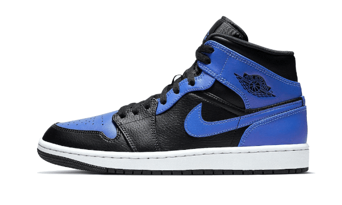 Air Jordan 1 Mid Black Royal Tumbled Leather